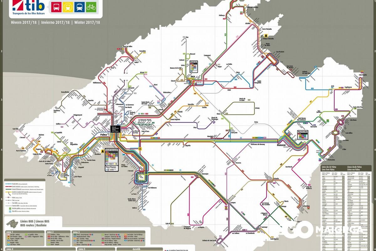 Mappa trasporti urbani di Maiorca
